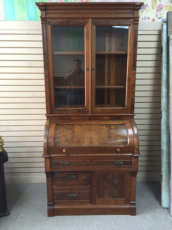 Gorgeous Antique Victorian Cylinder Roll Top Secretary Desk