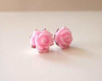 Children's flower studs, kids clip ons, flower girl gift, flower girl earrings, children's earrings, junior bridesmaid jewelry wedding kids