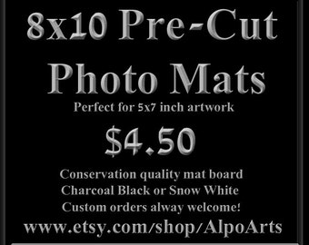 8x10 Precut photo mats for 5x7 inch artwork, Hand cut photo mats, conservation quality mat board, black or white photo mats for wall art
