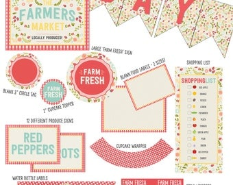 As seen on Kara's Party Ideas! - Farmers Market Party Printable Collection (red, gingham, farm, strawberry party)
