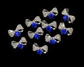 10pcs 3D Alloy Bowknot Nail Art Stickers Rhinestones DIY Handmade & Nails Decoration Blue