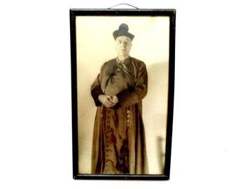 Religious Priest, Catholic Priest, Framed Picture Catholic Priest, Catholic School Principal, 1930s, Old Portrait of Priest