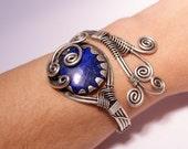 lapis lazuli bracelet- lapis cuff bracelet-lapis bracelet-  wire wrapped jewelry handmade-wire wrapped cuff bracelet
