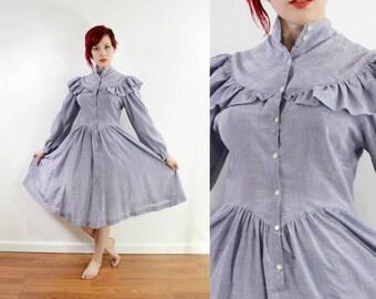 70s Prairie Midi Shirtwaist Dress - Old Western - Metallic Purple - High Collar - Ruffles - Long Sleeve // Xs Small