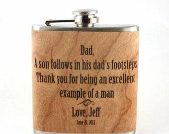 wood Father of the Groom Flask, Personalized, Custom,  Keepsake