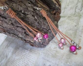 Leather, Hot Pink 3D beaded, Boho, Bohemian, Earrings