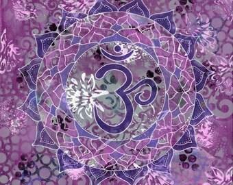 Crown Chakra, Chakra, Chakra Art, Mandala Art, Mandala, Purple Art, Spiritual Art, Yoga Art, Yoga Studio Decor, Sacred Geometry, Yoga, Bliss
