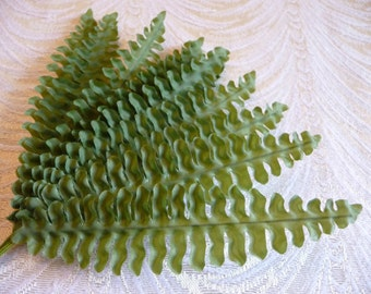 Vintage Fabric Fern Fronds Green Leaves NOS Millinery for Hats Crafts Corsage Bunch of 12