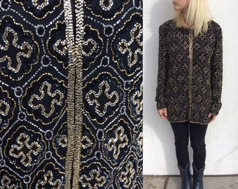 1980's Beaded Black and Gold Jacket