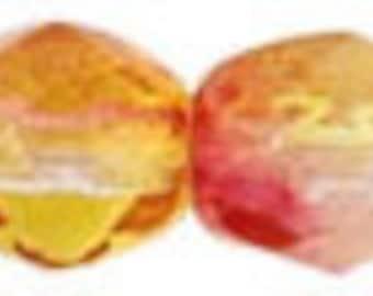 Dual Coated Fuchsia/Lemon 4mm Czech Firepolish Round Bead