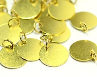 """50 Pieces Raw Brass 12 mm (15/32"""" ) Round Disc with Jump Ring Attached Charms Findings"""