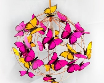 """Lamp with neon orange and fuchsia butterflies """"Agatha""""-FREE SHIPPING"""