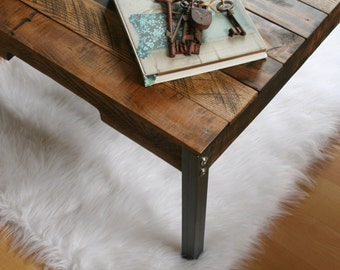 Rustic Industrial Reclaimed Wood Coffee Table with Iron Legs Made to Order/Custom Order