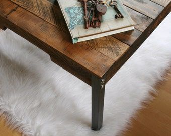 Rustic Industrial Reclaimed Wood Coffee Table With Iron Legs Made To Order Custom Order