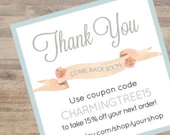 Coupon Code Card, Branding for Your Business Printable