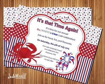4th of July invite Seafood party Crab seafood Feast July 4th invitation