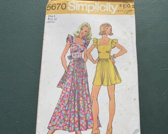 Simplicity 5670 - Pattern Patter - Maxi Dress - Commercial - Junior Size 9 - Maxi Dress - Sewing Pattern - Mini Dress