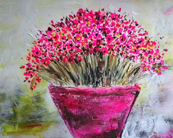 Pink Flowers - Wall Art - Watercolour - Pot Flowers - Pen and Ink Drawing - Abstract Flower - UK Art - Original Painting - Home Decor
