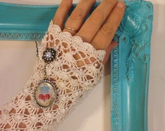 UPCYCLED Recycled Repurposed Cream LACE Steampunk Arm Warmers