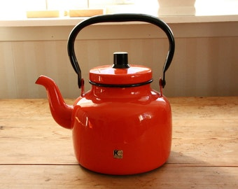 Charming retro Kockum orange enamel coffe pot