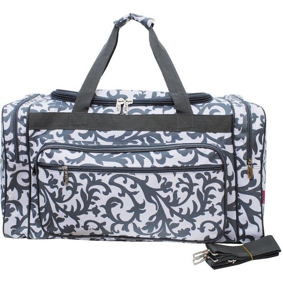 5 Large Monogrammed Duffel Bags Gray Floral By DoubleBEmbroidery