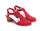 SALE 30% Off // Red Shoes, Heels, Womens Shoes, Sandals, Leather Shoes, Summer Shoes, Chunky Heels, Free Shipping