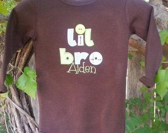 Personalized, Sibling, Lil Bro, Brown Bodysuit.