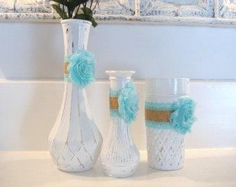 White vase collection, shabby chic vase, painted vase, aqua blue centerpiece, bridal shower decor, nursery decor