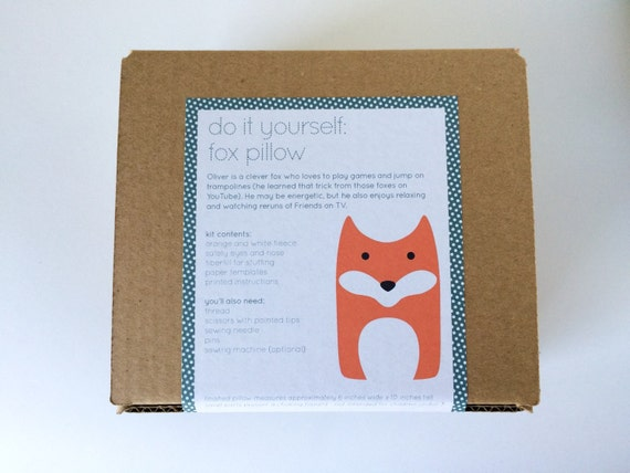 Plush Craft Animal Friends Pillow Kit : DIY Kit Fox Woodland Pillow Plush Fleece Fabric by FluffedAnimals