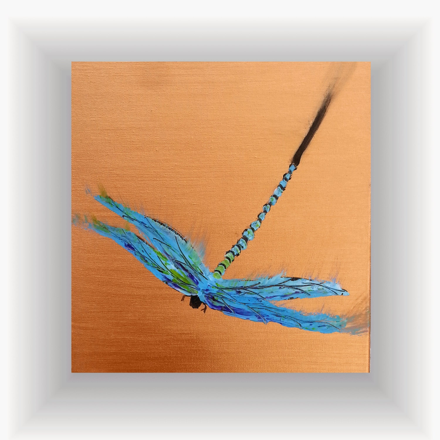 Dragonfly wall art original palette knife dragonfly painting for Dragonfly wall art