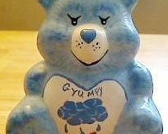 Care Bears Bank GRUMPY BEAR Blue Ceramic Retro Piggy Penny Bank