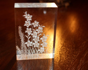 Vintage 1970's Reverse Carved Lucite Paperweight