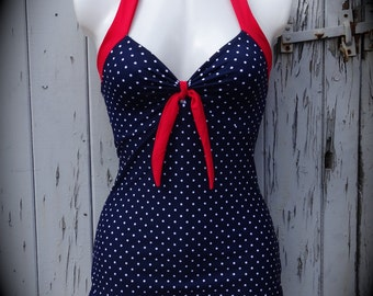 1950s Pin Up Girl Navy Blue And White Swimming Costume 10 12 14 16 18 - Retro Vtg Swimsuit Rockabilly Polka Dot