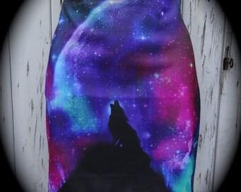 Galaxy Wolf Mini Skirt - Size 12 14 - Bodycon Animal Wild Nature Winter