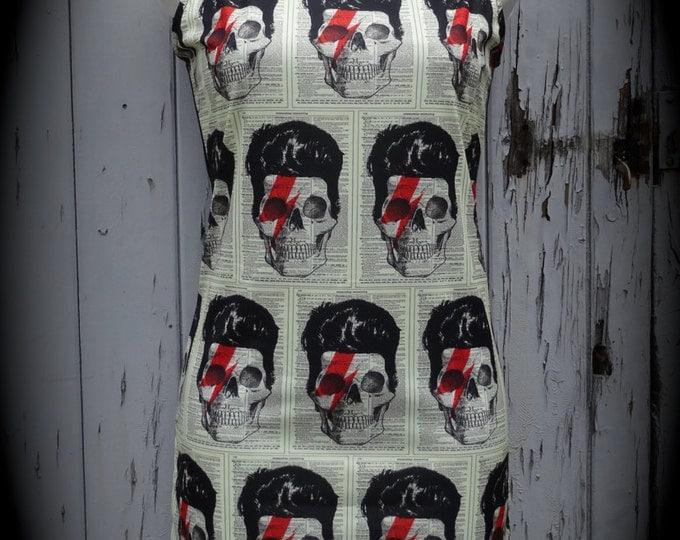 David Bowie Skull Dress - Size 8 10 12 - Digital Print Bodycon Wiggle Alternative Lightening Bolt Rock