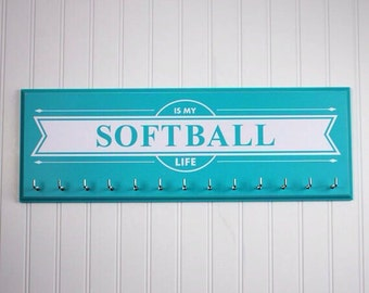 Softball medal holder rack display Softball school sports medals