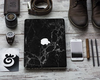 Elegant Black Marble Texture Skin for Apple Macbook Air & Mac Pro - Trendy One of a Kind Gift