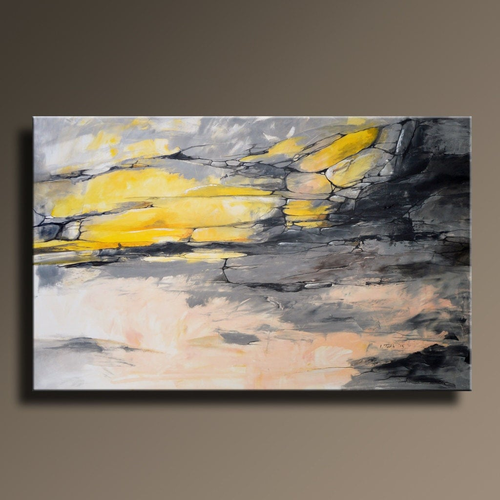 48 large original abstract yellow gray painting on for Wall art painting