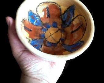 Ceramic flower bowl, salad bowl, icecream bowl, cereal bowl, breakfast bowl, handmade stoneware bowl, decorative bowl, small pottery bowl