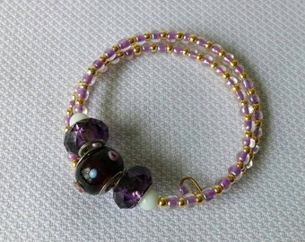 Purple and Gold Glass Bead Memory Wire Bracelet One Size Fits All