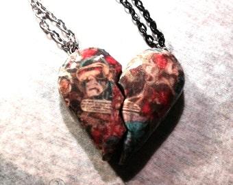 X-Men Couples Heart Necklace