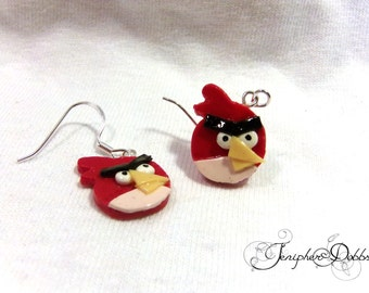 Handmade Polymer Clay Angry Birds Earrings