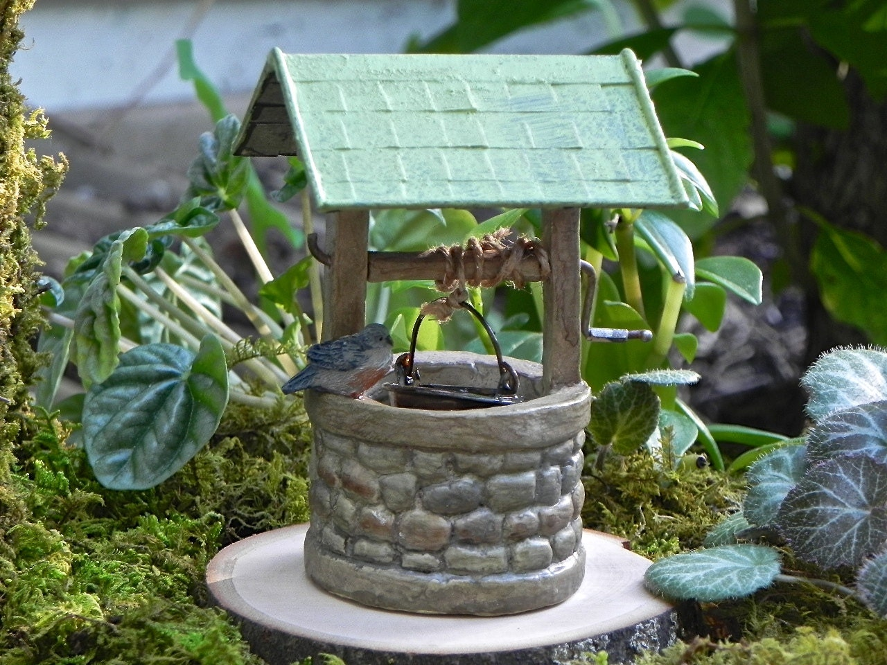fairy miniature garden wishing well accessories accessory. Black Bedroom Furniture Sets. Home Design Ideas