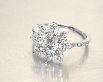 2.13ct Diamond Moissanite -14K white gold flower halo engagement ring