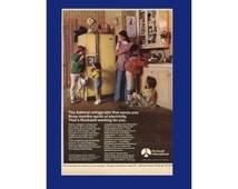 ADMIRAL REFRIGERATOR Original 1976 Vintage Color Print Ad - Harvest Gold; Major Kitchen Appliance; Rockwell International; Pee Wee Football