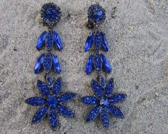 Thelma Deutsch Dangle Earrings Costume Jewelry Rhinestones