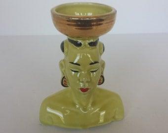 Chartreuse Nubian Head Vase