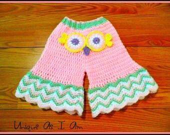 Crochet Baby Owl Bell Bottom Pants/Photo Prop