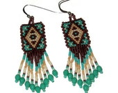 Tribal Brick Stitch  Beaded Earrings With Fringe In Browns And Turquoise With SS Wires