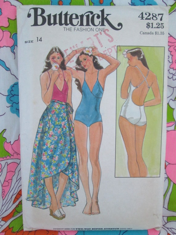 Vintage 1970's Butterick Pattern #4287 Misses' SWIMSUIT and SKIRT Printed Sewing Pattern w/ Instructions Beach~Pool Wear